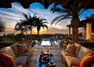 outdoor lounging with pool and kitchen