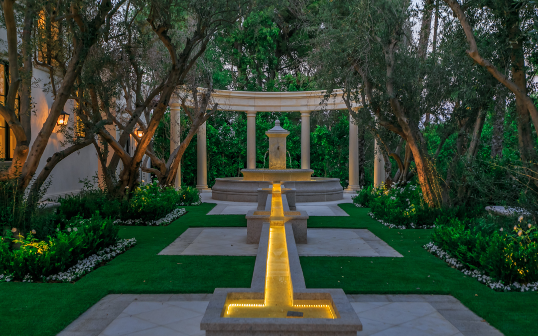 Adding a Formal Garden with Roman Architrave, Fountain, and Runnel