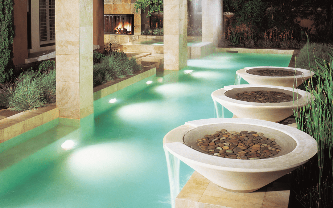 Modern Architectural Lap Pool with Waterfalls